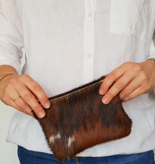 Brown Brindle Cowhide Mini Clutch