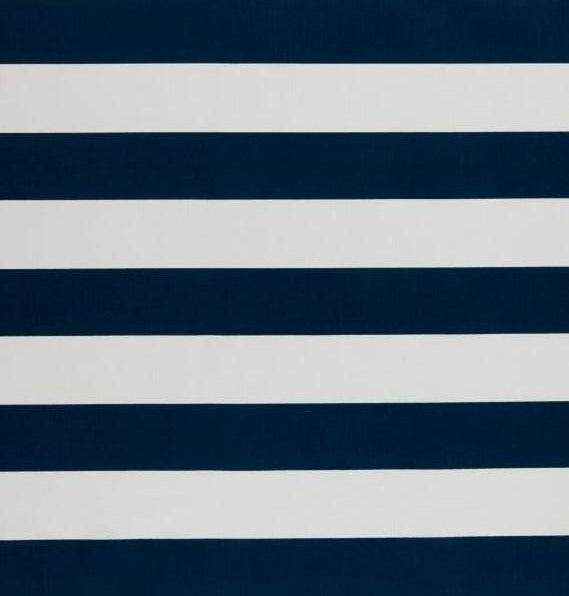 Cobalt Navy and White Horizontal Striped Outdoor Cushion Cover