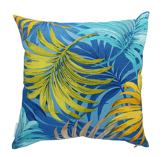 Blue and yellow tropical fronds outdoor cushion cover