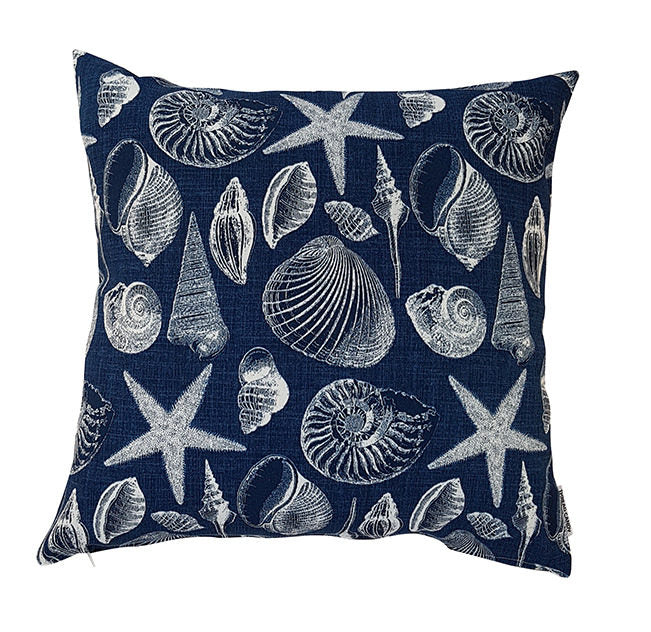 Blue Coastal Seashells Indoor/Outdoor Cushion Cover