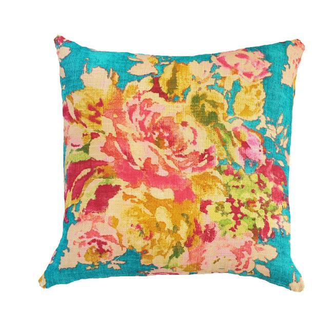 Floral Teal and Fuchsia Indoor Cushion Cover