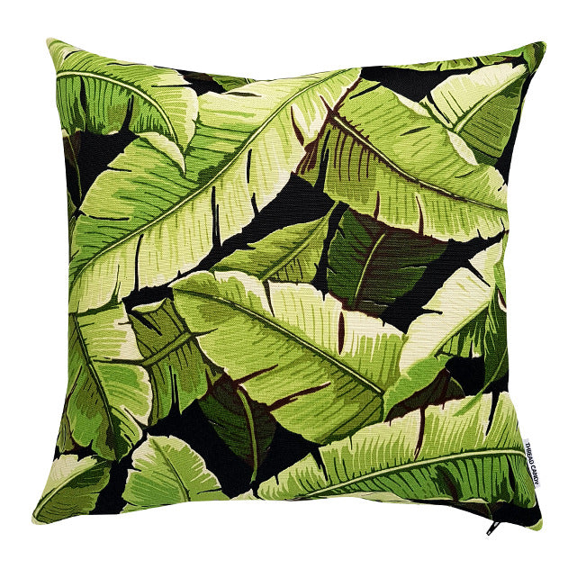 Bold and beautiful green and black palm leaves outdoor cushion cover
