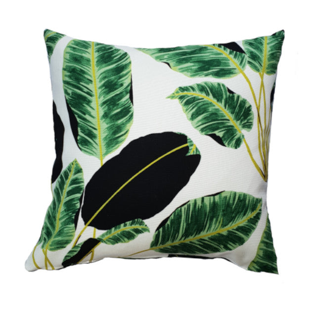 Black and Green Tropical Leaves indoor cushion cover