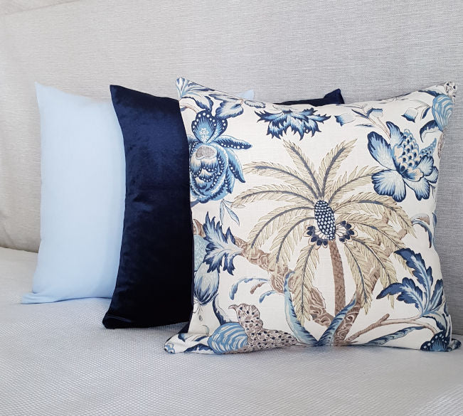 Hamptons Style Palm and Royal Blue Velvet Indoor Cushion Cover