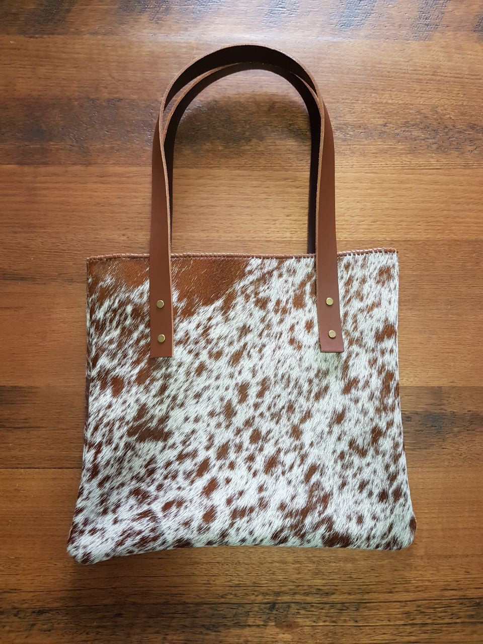Brown and White Cowhide Leather Bag
