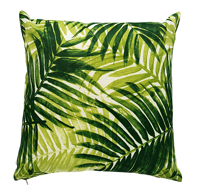 Jade Green Palm Leaves Outdoor Cushion Cover