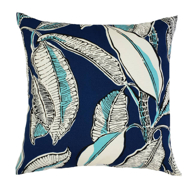 Tropical Jungle Leaves Blue Indoor/Outdoor Cushion Cover