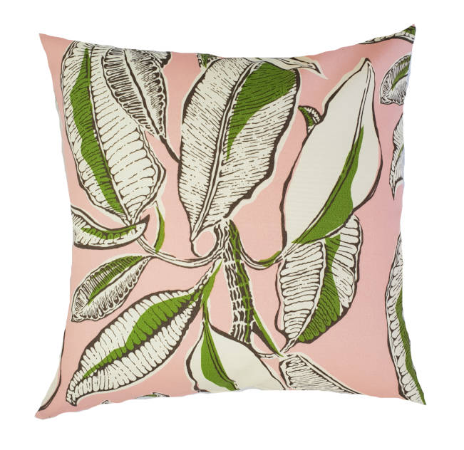 Tropical Jungle Leaves Pink Indoor/Outdoor Cushion Cover