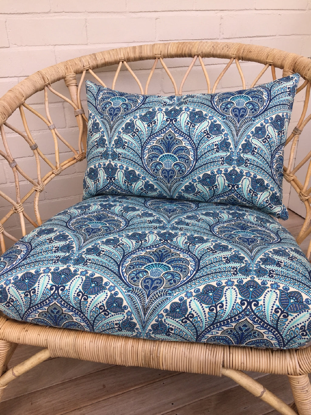 Blue crescent tommy bahama chair recover