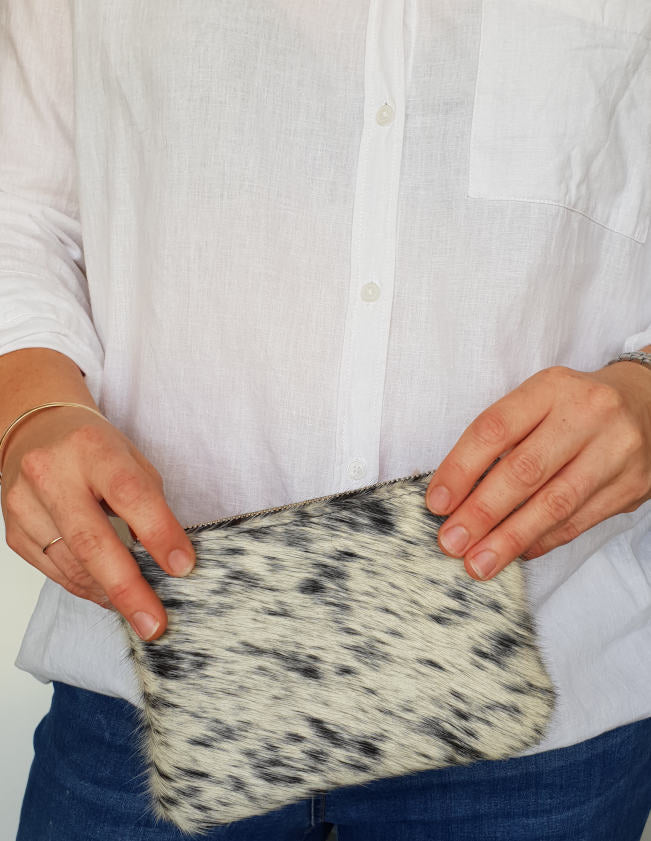 Salt and Pepper Cowhide Mini Clutch