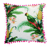 Tommy bahama tropical bird and pineapple with pom poms outdoor cushion cover