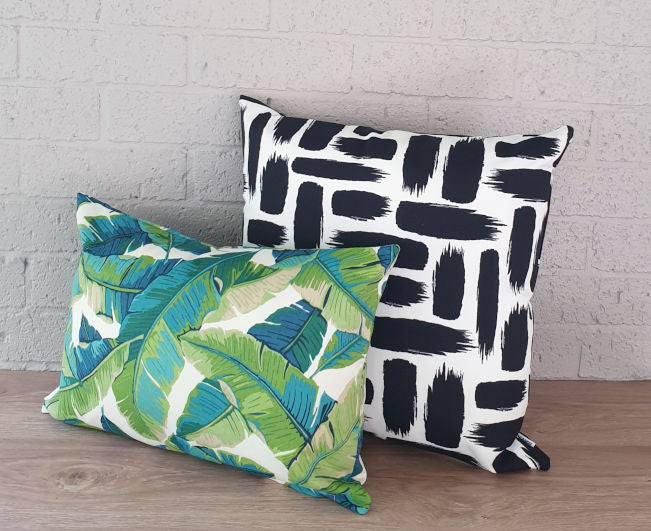 Aqua and Green Leaves Outdoor Cushion Collection