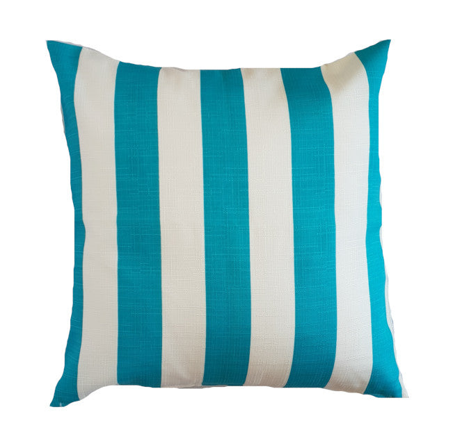 Aqua and White Striped Outdoor Cushion Cover