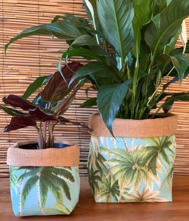 Aqua Palms Fabric Pot Holder