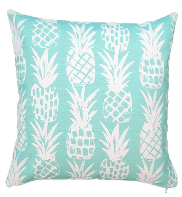 Aqua Pineapples Outdoor Cushion Cover