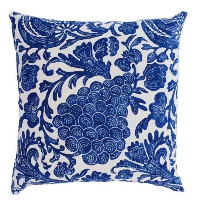 Indigo Blue Hamptons Style indoor cushion cover