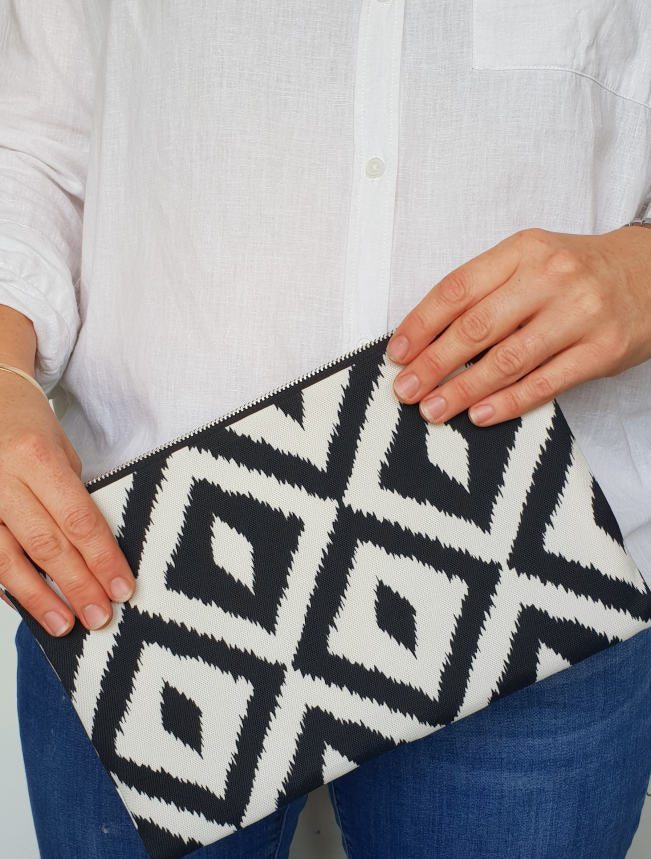Black and white diamond fabric clutch