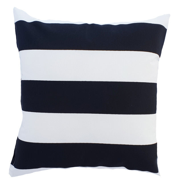 Black and White Horizontal Striped Outdoor Cushion Cover