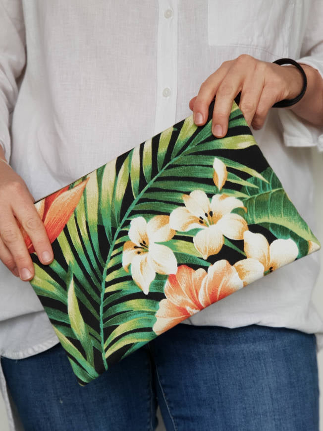 Black Hibiscus Floral Fabric Clutch