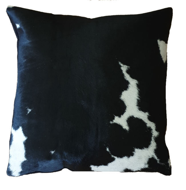 Blotchy White and Black Cowhide Cushion Cover 45cm