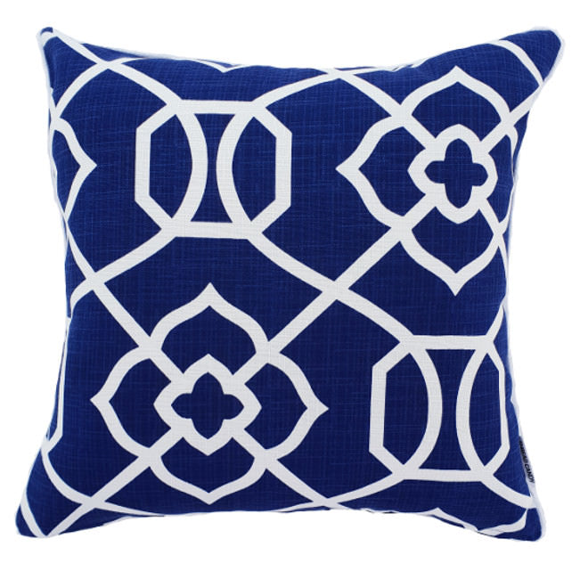 Blue and white Geometric Hamptons Style cushion cover