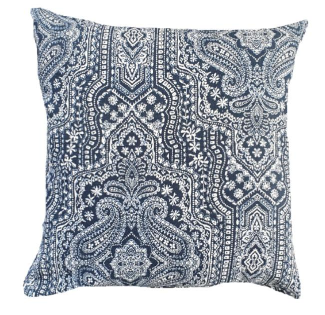 Blue and White Tribal Damask Indoor Cushion Cover