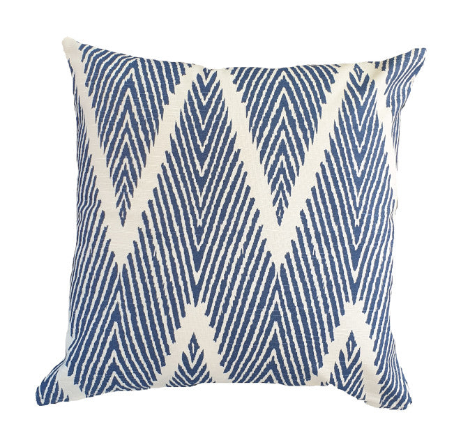 Blue Chevron Hamptons Style Indoor Cushion Cover