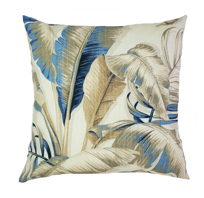 Tropical Blue/Grey Banana Leaves Indoor Cushion Cover