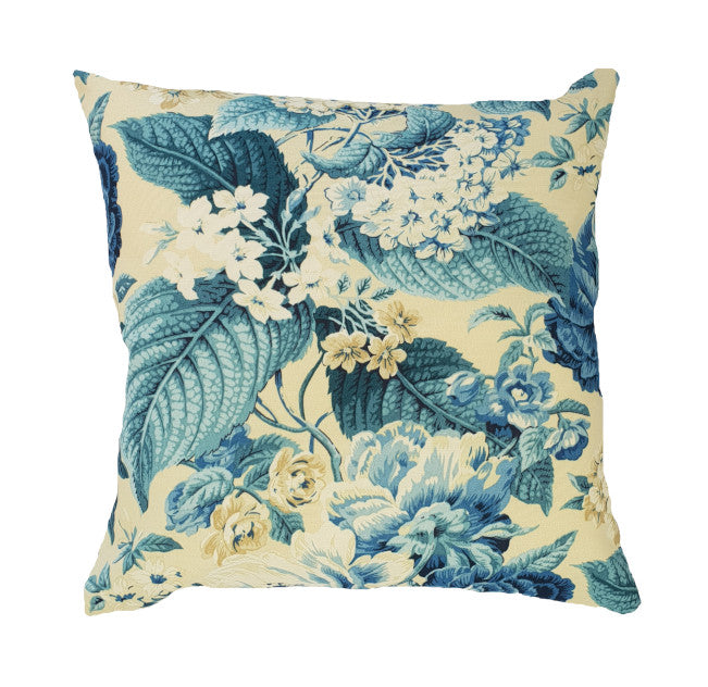 Blue Hamptons Style Floral Outdoor Cushion Cover