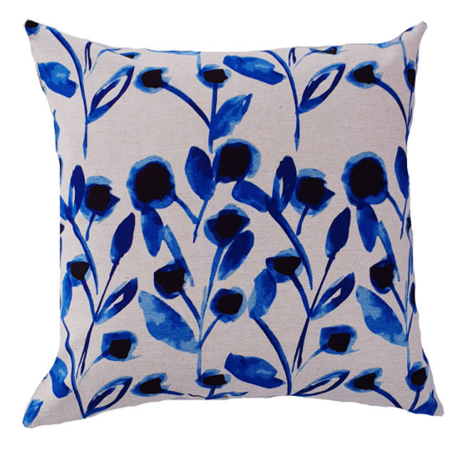 Japanese Blue Bud Flower Indoor Cushion Cover