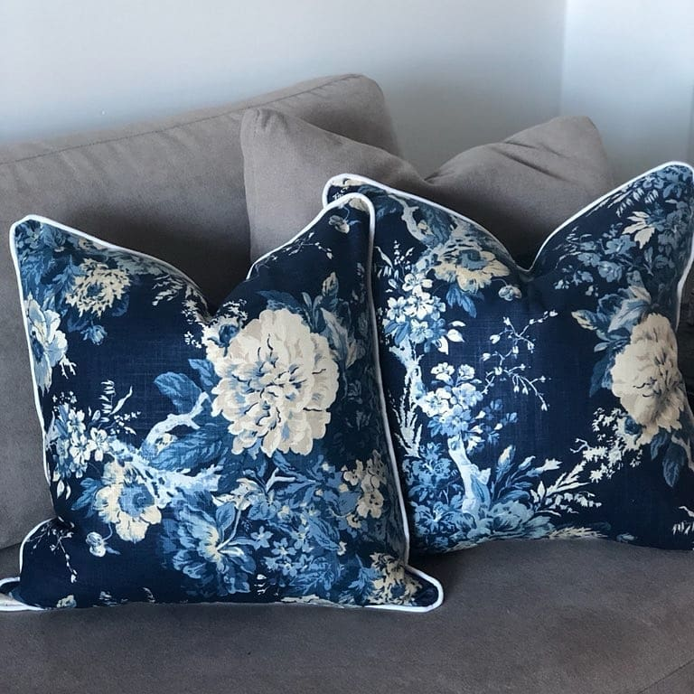 Elegant Blue French Provincial Indoor Cushion Cover