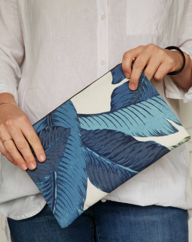 Blue Palms Fabric Clutch