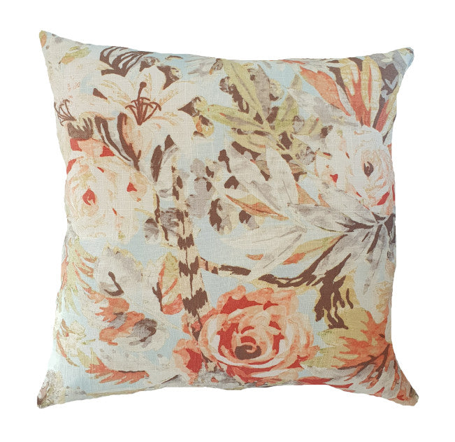 Blush Pink Floral Hamptons Style Indoor Cushion Cover