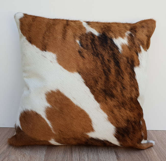 Brown and White Brindle Cowhide 45cm Cushion cover