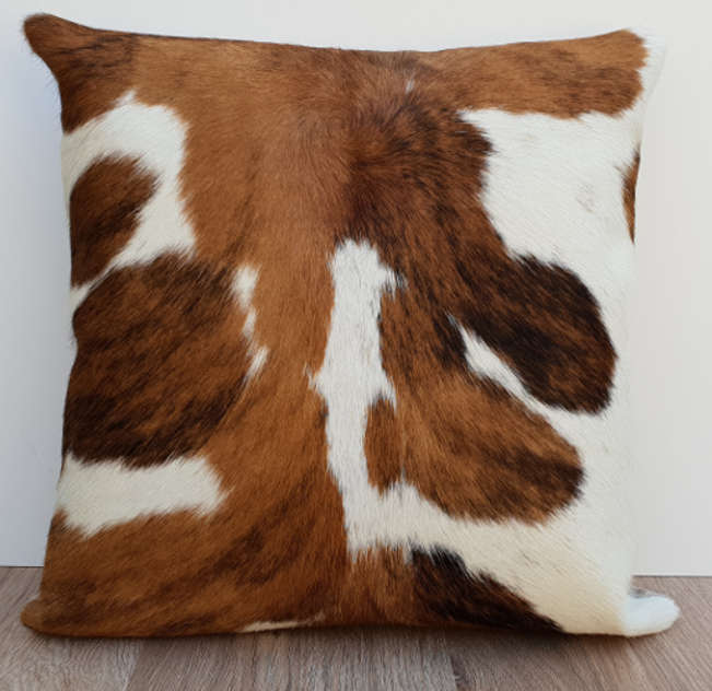 Brown And White Cowhide Leather Cushion Thread Candy