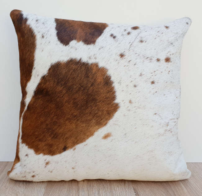 White and Tan Brown Cowhide Cushion Cover