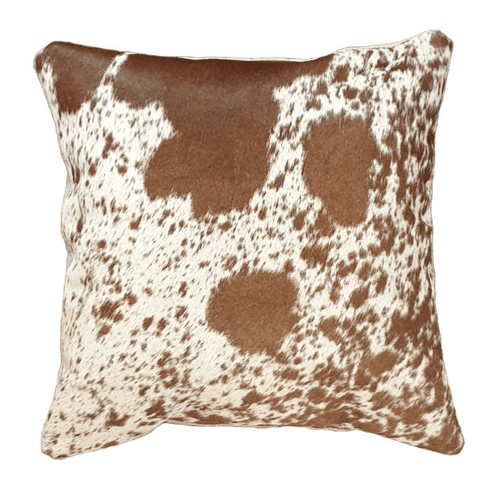 White and Tan Spotted Cowhide  Cushion