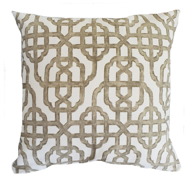 Seaside Brown/Gold Hamptons Geometric Indoor Cushion Cover