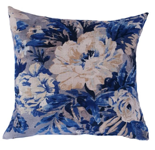 Indigo Blue Hamptons Style Floral indoor cushion cover