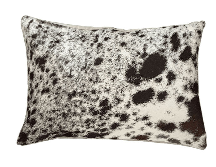 Chocolate Brown and White Spotted Cowhide  Cushion