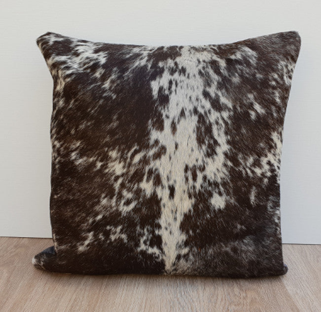 Chocolate brown and white cowhide cushion cover 45cmx45cm