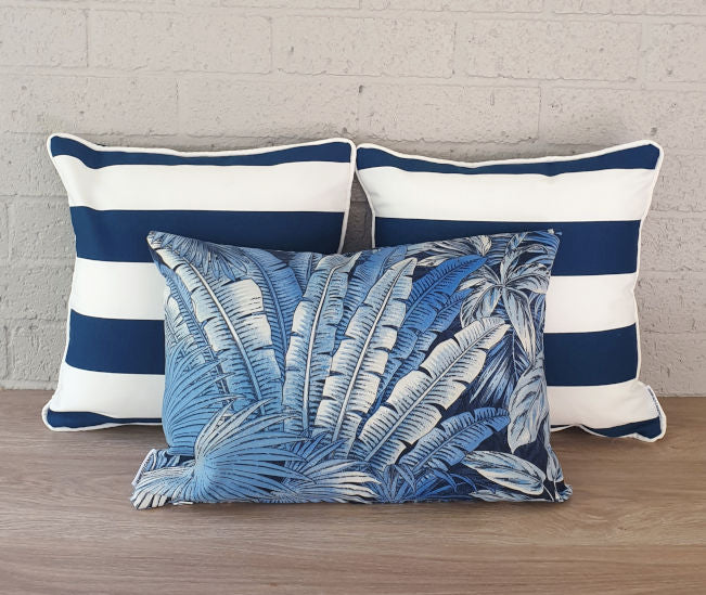 Cobalt Navy Stripe Outdoor Cushion Collection