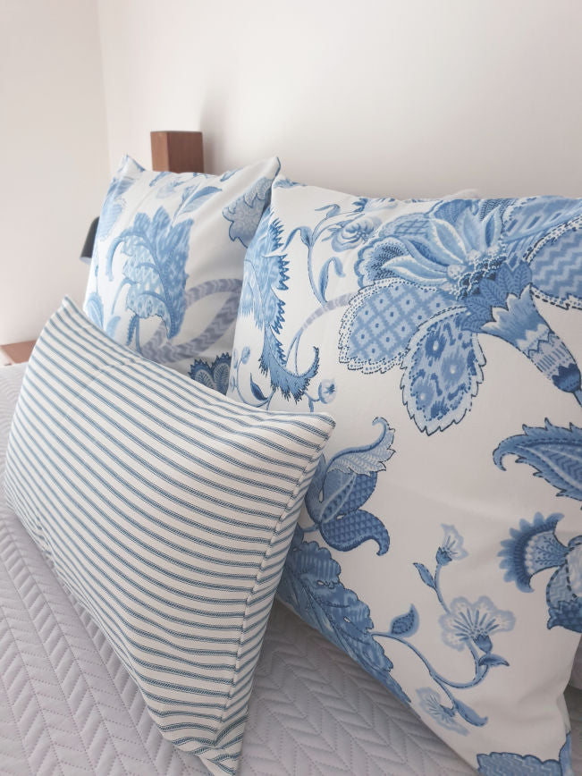 Crisp White and Blue Jacobean Cushion Collection