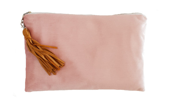 Dusty Pink Velvet Clutch with tassel