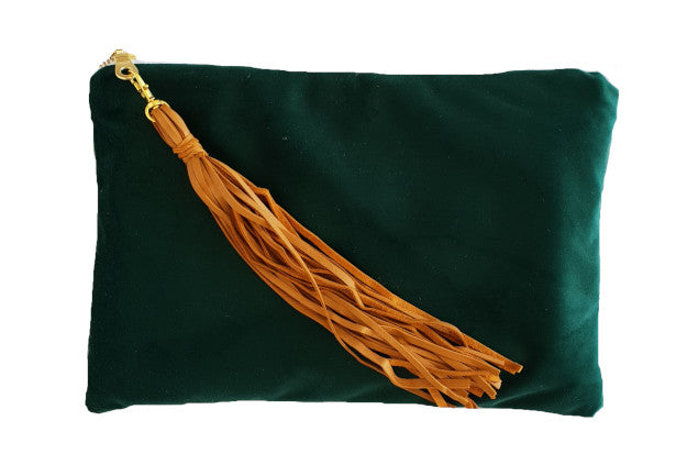 Emerald Green Velvet Clutch with Tassel