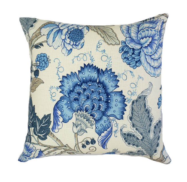 Blue Floral Hamptons Style Indoor Cushion Cover