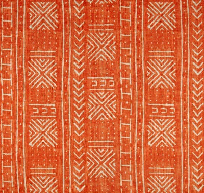 Tribal Mud Cloth Orange Indoor Cushion Cover