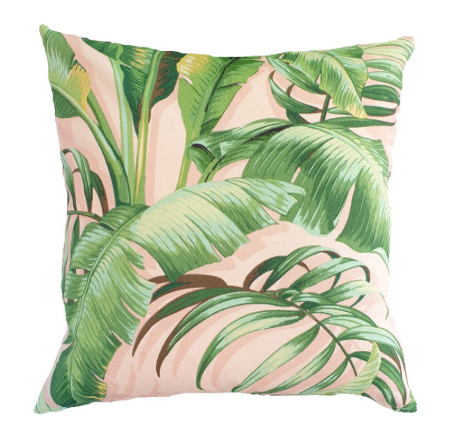 Green and Pink Tropical Banana Leaves Outdoor Cushion