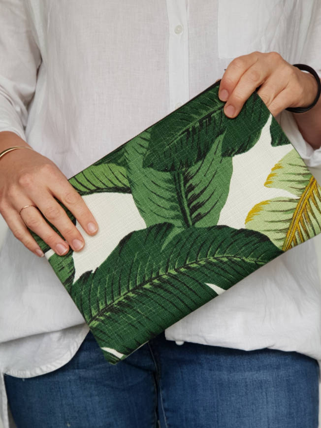 Green Palms Fabric Clutch