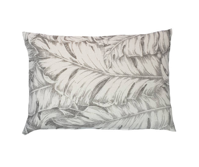 Grey and white jungle leaves cushion
